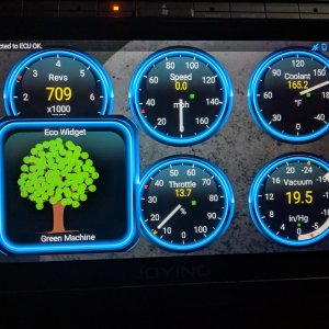 Some fun with Torque BHP - putting a fuel consumption widget on the standard dashboard to see how it updates with different acceleration/traffic behav